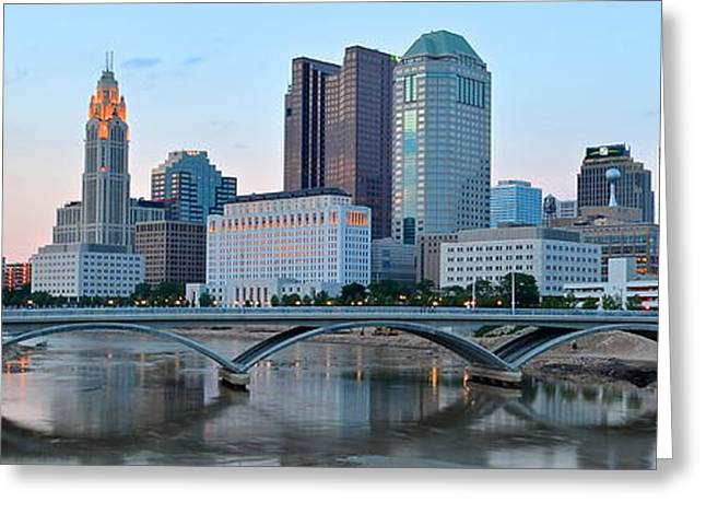Osu Greeting Cards - Columbus Panorama Greeting Card by Frozen in Time Fine Art Photography
