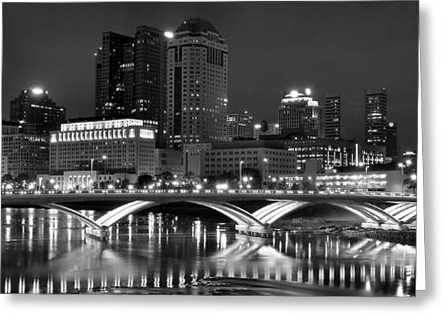 Greyscale Greeting Cards - Columbus Panoramic Black and White Night Greeting Card by Frozen in Time Fine Art Photography