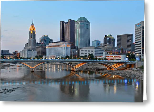 Municipality Greeting Cards - Columbus Panoramic Greeting Card by Frozen in Time Fine Art Photography