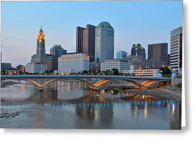 Buckeye Greeting Cards - Columbus Panoramic Greeting Card by Frozen in Time Fine Art Photography