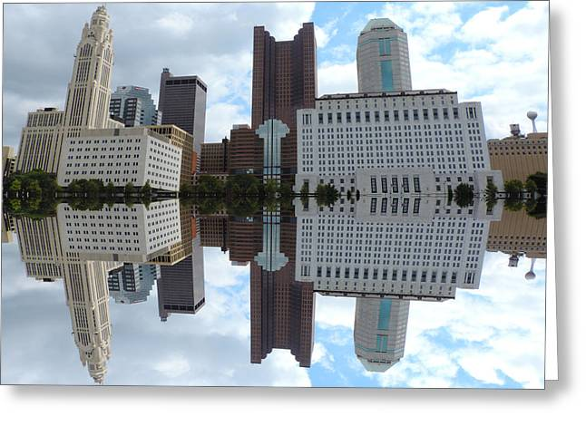 Downtown Genoa Greeting Cards - Columbus Reflection Greeting Card by Cityscape Photography