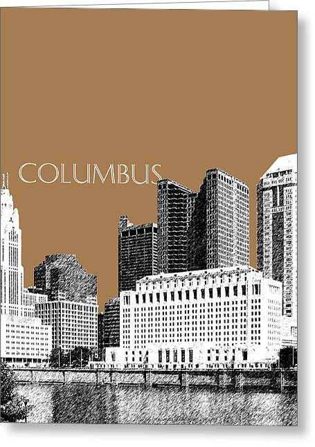 Pen Greeting Cards - Columbus Skyline - Brown Greeting Card by DB Artist