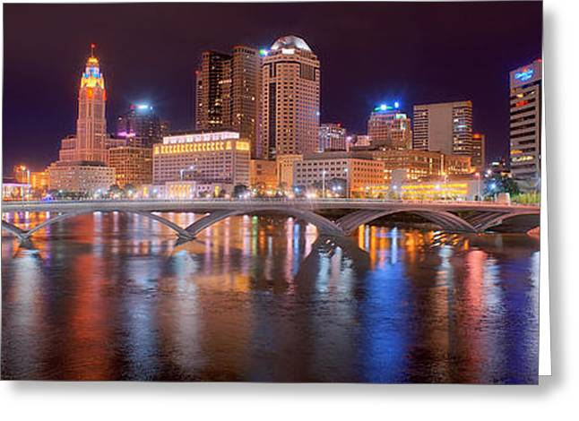Columbus Greeting Cards - Columbus Skyline at Night Color Panorama Ohio Greeting Card by Jon Holiday