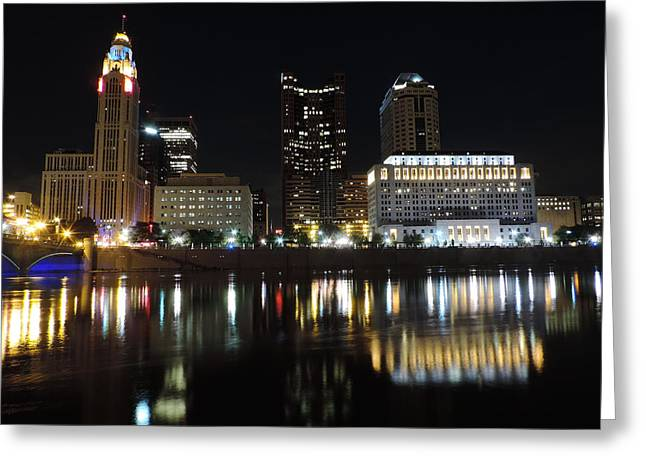 Downtown Genoa Greeting Cards - Columbus skyline at night Greeting Card by Cityscape Photography