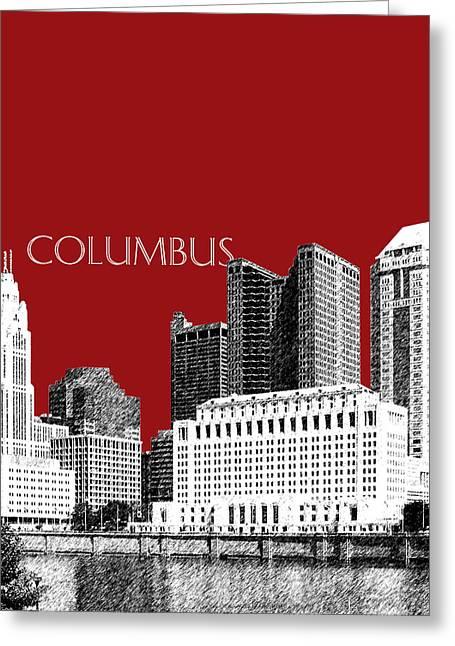 Columbus Ohio Greeting Cards - Columbus Skyline - Dark Red Greeting Card by DB Artist
