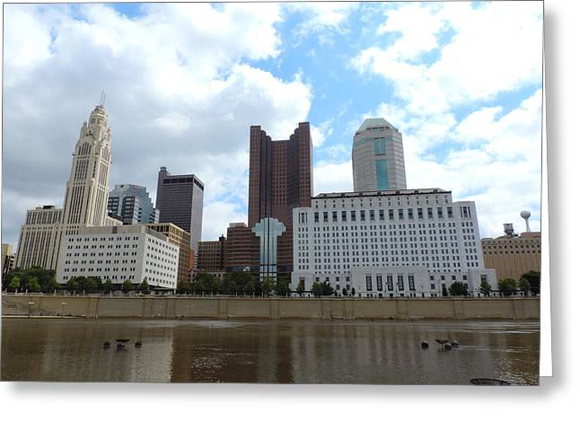 Downtown Genoa Greeting Cards - Columbus skyline Greeting Card by Cityscape Photography