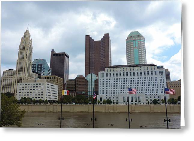 Downtown Genoa Greeting Cards - Columbus skyline with flags Greeting Card by Cityscape Photography
