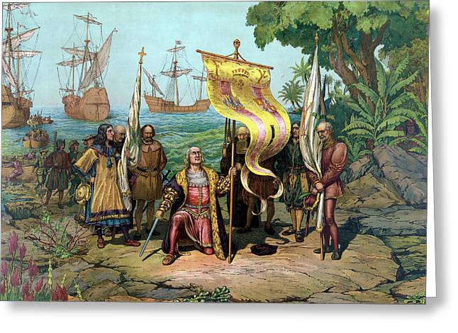 Columbus Taking Possession Of The New Country Greeting Card by War Is Hell Store