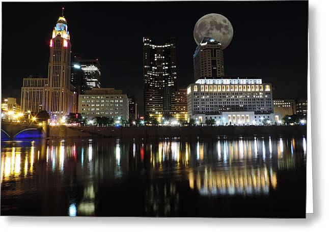 Downtown Genoa Greeting Cards - Columbus with the Moon Greeting Card by Cityscape Photography