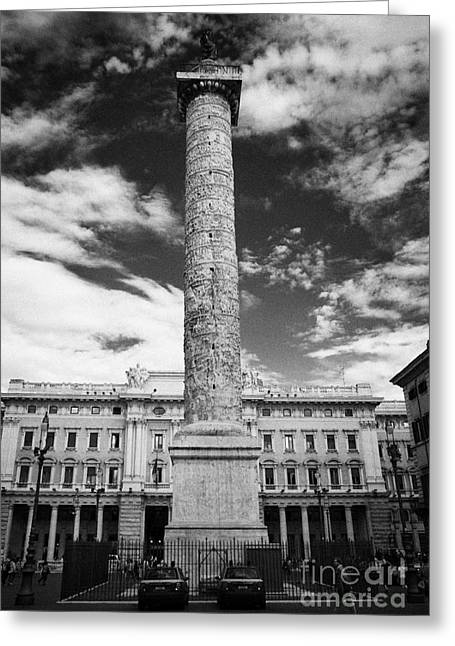Column Of Marcus Aurelius Topped By Bronze Statue Of St Paul In Piazza Colonna Rome Lazio Italy Greeting Card by Joe Fox