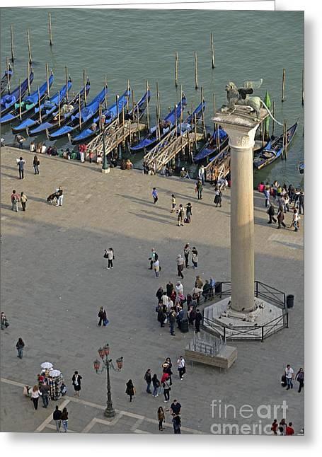 Sami Sarkis Greeting Cards - Column of San Marco by gondolas Greeting Card by Sami Sarkis
