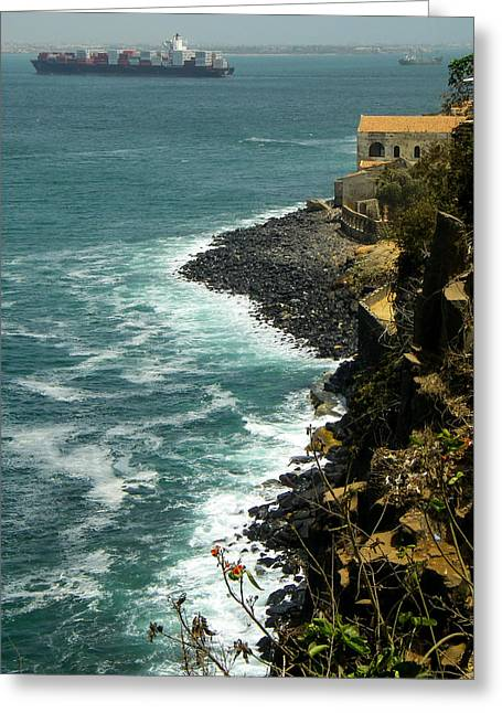 Geobob Greeting Cards - Columnar Basalt Cliffs and Container Ship Ile de Goree Dakar Senegal Africa Greeting Card by Robert Ford