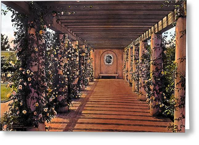 Kinkade Greeting Cards - Columns and Flowers 2 Greeting Card by Terry Reynoldson