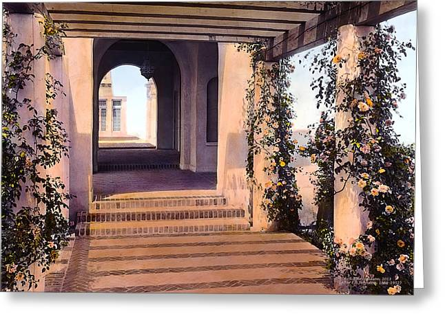 Kinkade Greeting Cards - Columns and Flowers Greeting Card by Terry Reynoldson