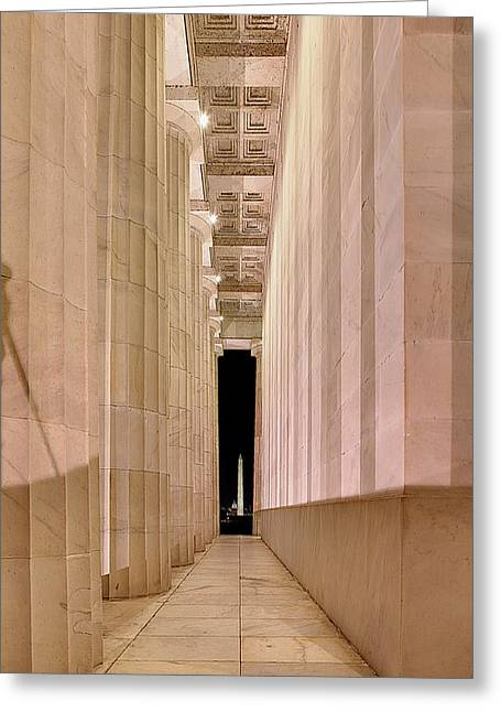 Flag Greeting Cards - Columns and Monuments Greeting Card by Metro DC Photography