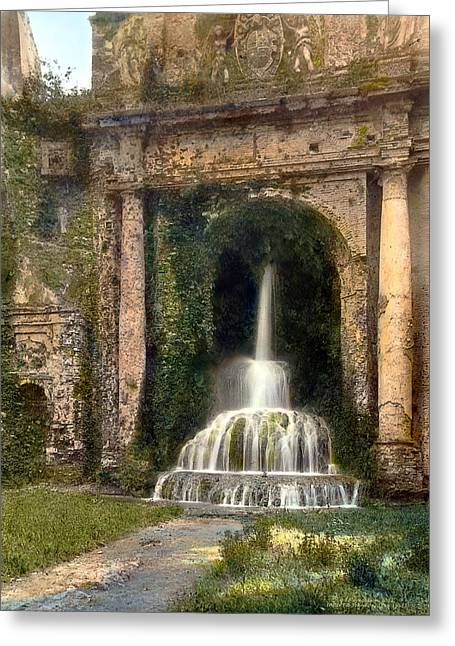 Realistic Greeting Cards - Columns and Waterfall Greeting Card by Terry Reynoldson