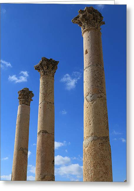 Jordan River Temple Greeting Cards - Columns at The Ancient City of Jerash in Jordan Greeting Card by Ash Sharesomephotos