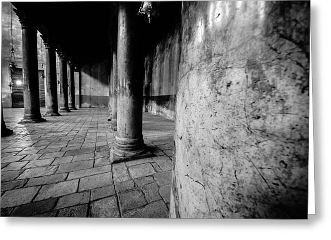 Jesus Greeting Cards - Columns at the Church of Nativity Greeting Card by David Morefield