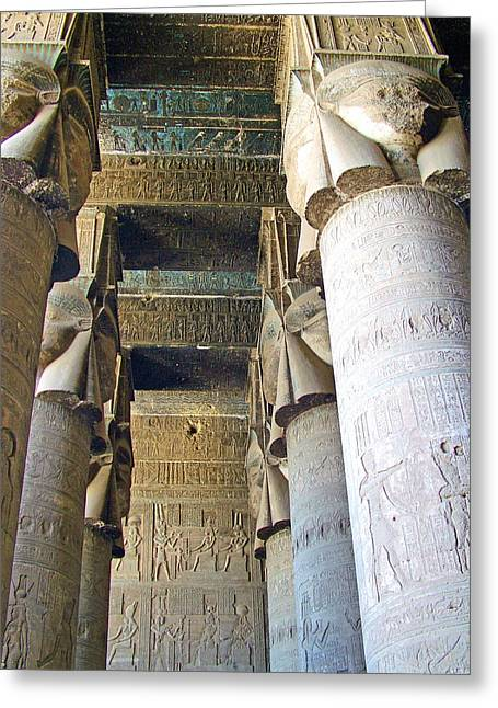 Hathor Greeting Cards - Columns in Temple of Hathor near Dendera in Qena-Egypt Greeting Card by Ruth Hager