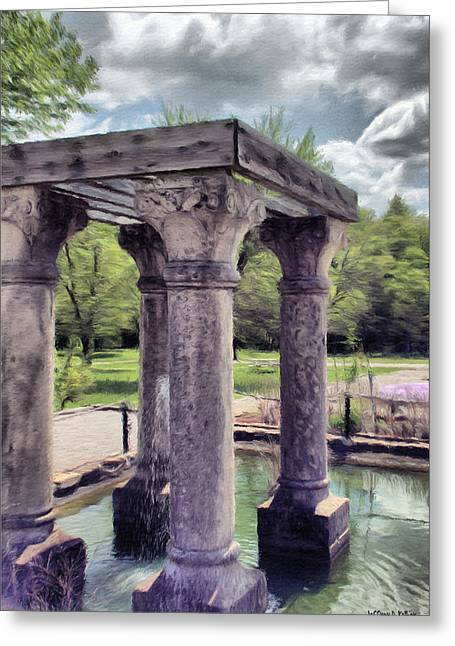 Grey Clouds Digital Art Greeting Cards - Columns in the Water Greeting Card by Jeff Kolker