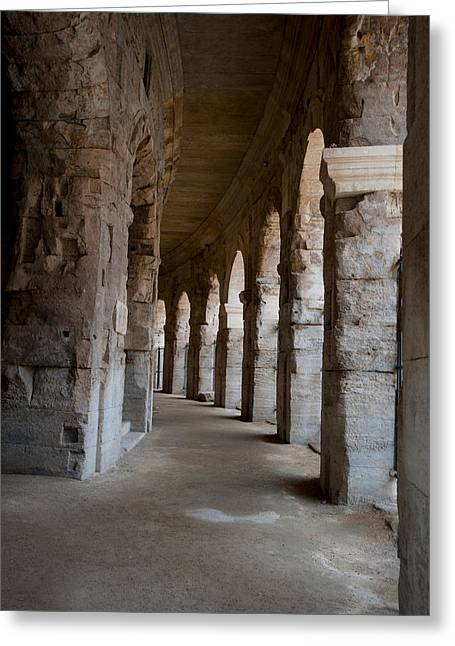 Arles Greeting Cards - Columns Of Amphitheater, Arles Greeting Card by Panoramic Images