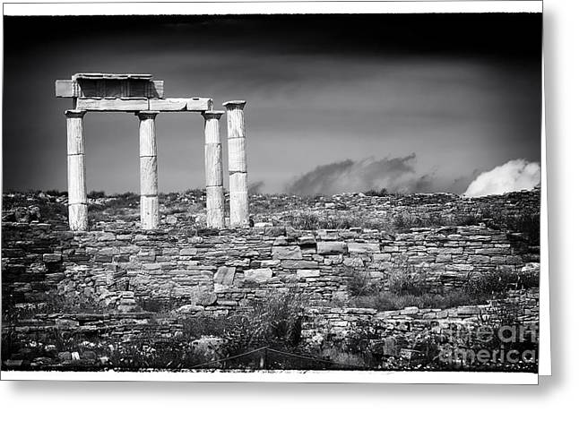 Delos Greeting Cards - Columns of History on Delos Island Greeting Card by John Rizzuto