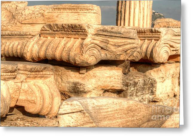 Nike Greeting Cards - Columns of the Parthenon Greeting Card by Deborah Smolinske