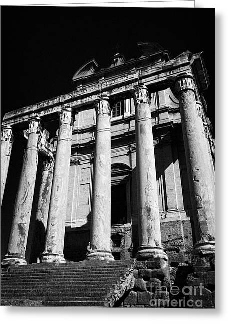 Miranda Greeting Cards - columns part of the temple of antoninus and faustina changed to the church of san lorenzo in Miranda imperial roman forum Rome Lazio Italy Greeting Card by Joe Fox