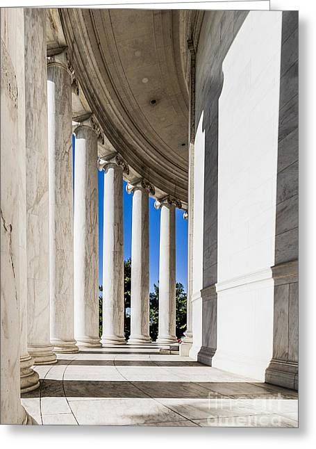 Jefferson Greeting Cards - Columns Surrounding Jefferson Memorial Greeting Card by Darcy Michaelchuk