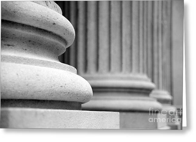 Building Detail Greeting Cards - Columns Greeting Card by Tony Cordoza