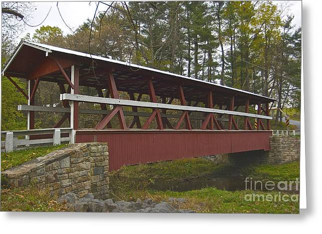 Covered Bridge Greeting Cards - Colvin Covered Bridge Greeting Card by Lori Amway