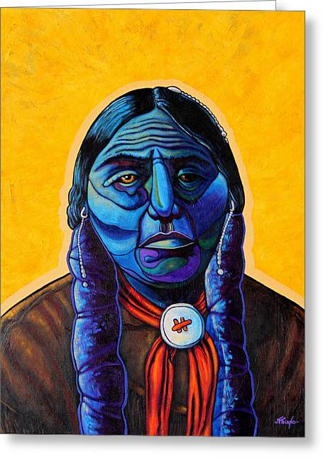 Hair Parted In The Middle Greeting Cards - Comanche Greeting Card by Joe  Triano