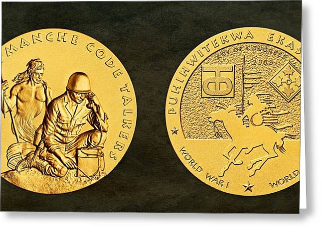 Comanche Greeting Cards - Comanche Nation Tribe Code Talkers Bronze Medal Art  Greeting Card by Movie Poster Prints