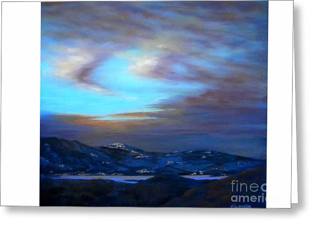 Night Scenes Pastels Greeting Cards - Comares at Night Greeting Card by Heather Harman