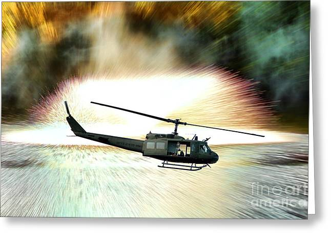 Artillery Greeting Cards - Combat Helicopter Greeting Card by Olivier Le Queinec