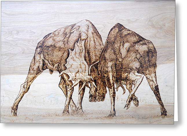 Woodburn Pyrography Greeting Cards - Combat Greeting Card by Melissa Fuller