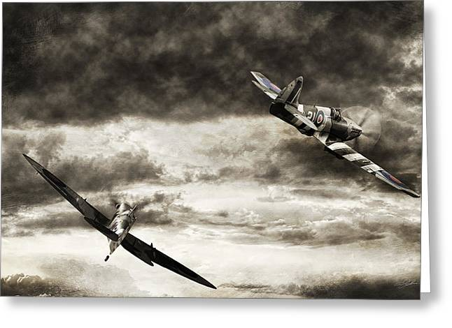 Spitfire Greeting Cards - Combat Spitfires Greeting Card by Peter Chilelli