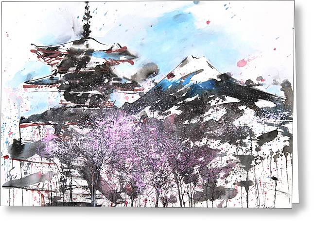 Combination No.32 Spring Time Mt.fuji And Pagoda Greeting Card by Sumiyo Toribe