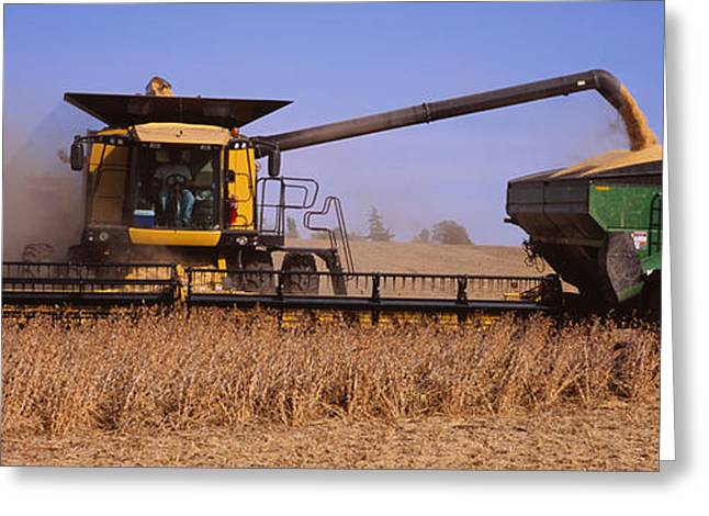 Soybean Greeting Cards - Combine Harvesting Soybeans In A Field Greeting Card by Panoramic Images