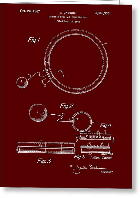 Art Product Drawings Greeting Cards - Combined Hoop and Tethered Ball Toy Patent 1967 Greeting Card by Mountain Dreams