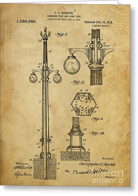 Pole Drawings Greeting Cards - Combined Pole and Lamp Post - 1914 Greeting Card by Pablo Franchi