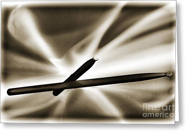 Drum Sticks Greeting Cards - Combo Trap Drum Sticks Painting in Sepia 3231.01 Greeting Card by M K  Miller