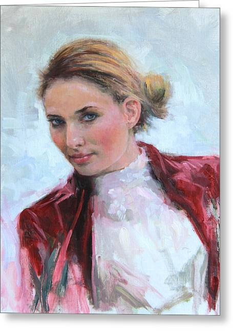 Come A Little Closer Young Woman Portrait Greeting Card by Talya Johnson