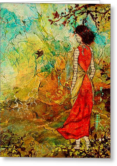 Landscape Mixed Media Greeting Cards - Come Back Home To You Inspiring Folk art painting Greeting Card by Janelle Nichol