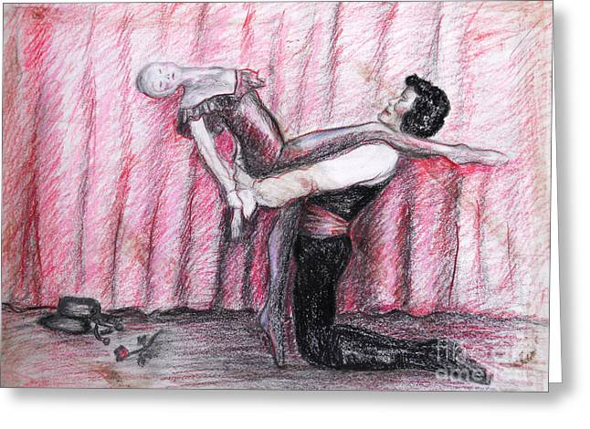 Dance Ballet Roses Greeting Cards - Come dance With Me Greeting Card by M C Sturman