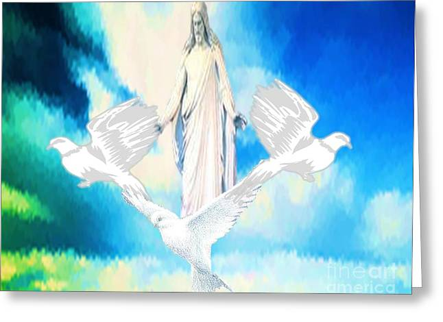 Jesus Mixed Media Greeting Cards - Come Find Peace Within Me Greeting Card by Belinda Threeths