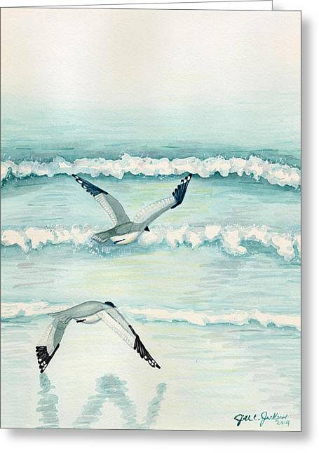Flying Seagull Mixed Media Greeting Cards - Come Fly with Me Greeting Card by Jill Jackson