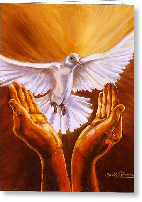 Pentecost Paintings Greeting Cards - Come Holy Spirit Greeting Card by Carole Powell
