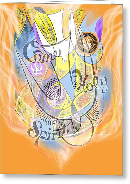 Come Holy Spirit Come Greeting Card by Anne Cameron Cutri