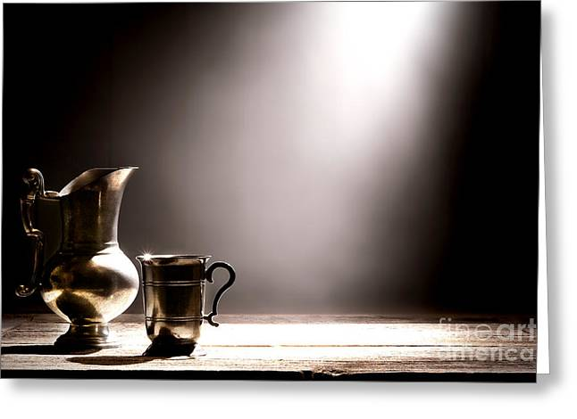 Silver Pitcher Greeting Cards - Come Let Us Drink About Greeting Card by Olivier Le Queinec